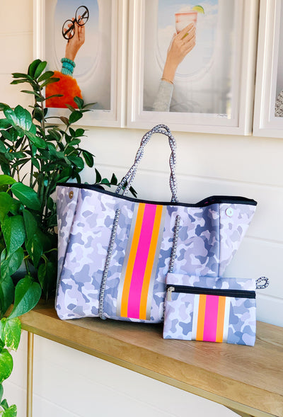 The Olivia Neoprene Tote, light grey camo print neoprene tote with hot pink and orange stripe detailing down the front