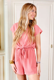 Teagan Romper, Blush pink romper with tie front detailing