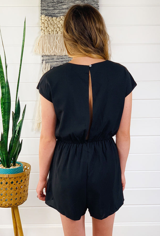 Teagan Romper in Black, Luna in Love black romper with tie front detailing