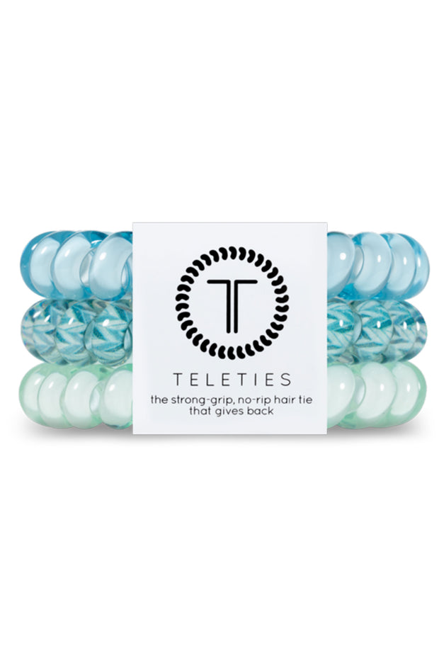 TELETIES Large Hair Ties - Blue Me Away, shades of blue coil hair ties