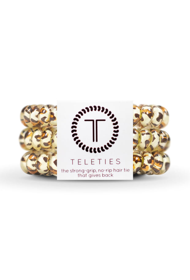 TELETIES Small Hair Ties - Leopard, leopard coil hair ties