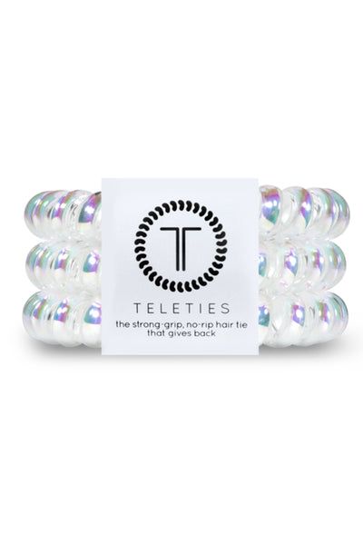 TELETIES Large Hair Ties - Peppermint holographic white coil hair ties