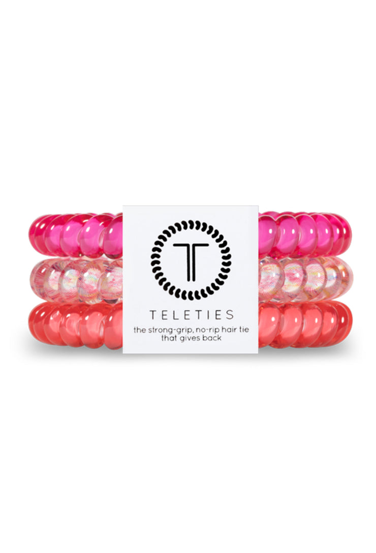 TELETIES Small Hair Ties - Pink Punch, shades of pink coil hair ties