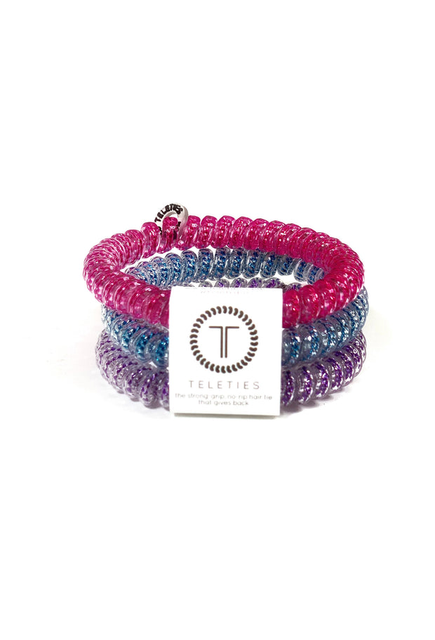 TELETIES Small Hair Ties - Bling It On, 3 piece coil hair ties in pink blue and purple - size small