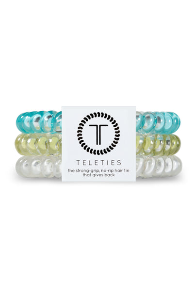 TELETIES Small Hair Ties - String Me Along, blue green and clear coil hair ties