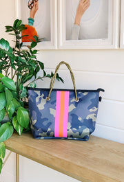 The Camo Emma Grey Neoprene Mini Tote, mini camo neoprene tote with orange and pink strip down the front