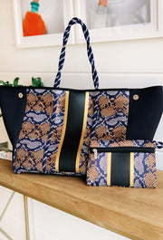 The Harlei Snake Neoprene Tote, black snake print neoprene tote bag