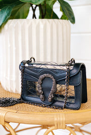 The Kathleen by Clearly Handbags, black and clear handbag with removable chain strap