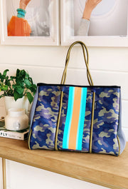 The Taylor Camo Neoprene Tote, camo neoprene tote with orange and turquoise stripe