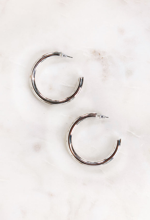 Thick Silver Hoop Earrings, silver medium size thick tubular hoop earring