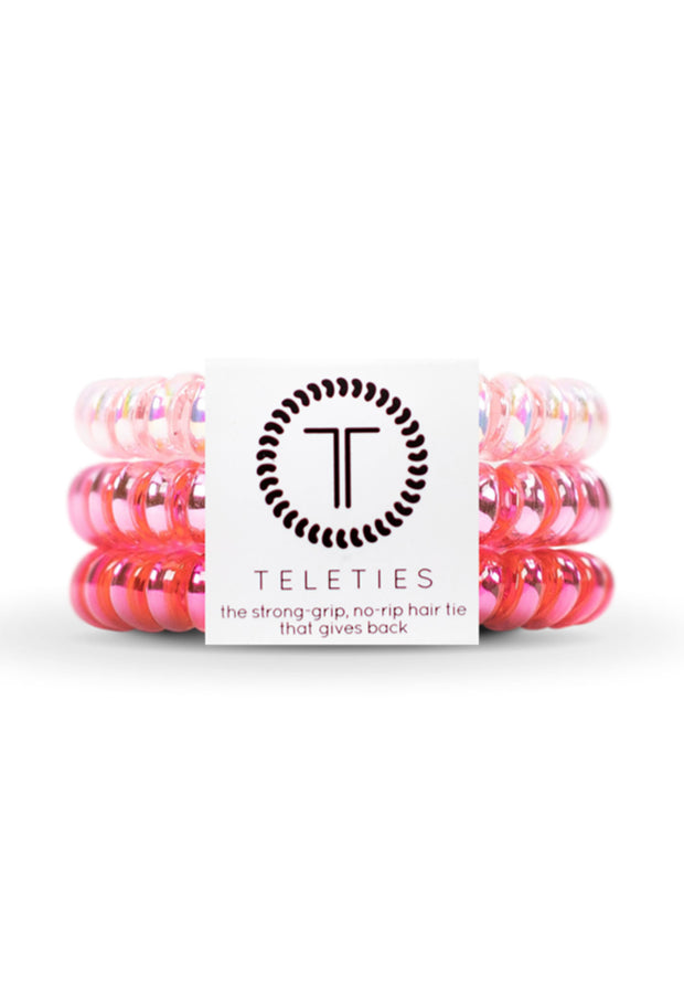 TELETIES Small Hair Ties- Think Pink, 3 different colored pink hair coil hair ties