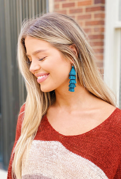 Dawson Tiered Fringe Earring in Teal, layered fringe earrings in teal