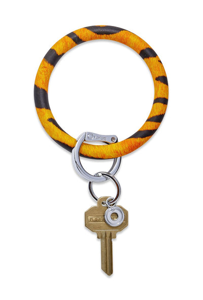 O-Venture Silicone Key Ring in Tiger, orange tiger print circle wrist key ring