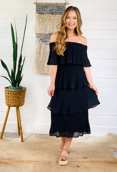 Tinsley Pleated Tier Dress in Black, black pleated tiered off the shoulder dress