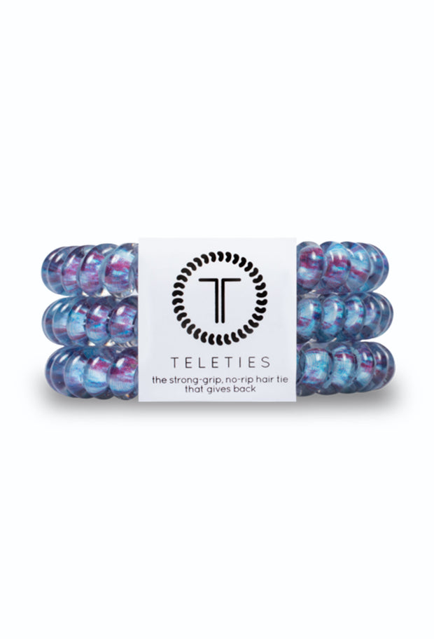 TELETIES Small Hair Ties - Trippy Hippie, blue and purple hair coils