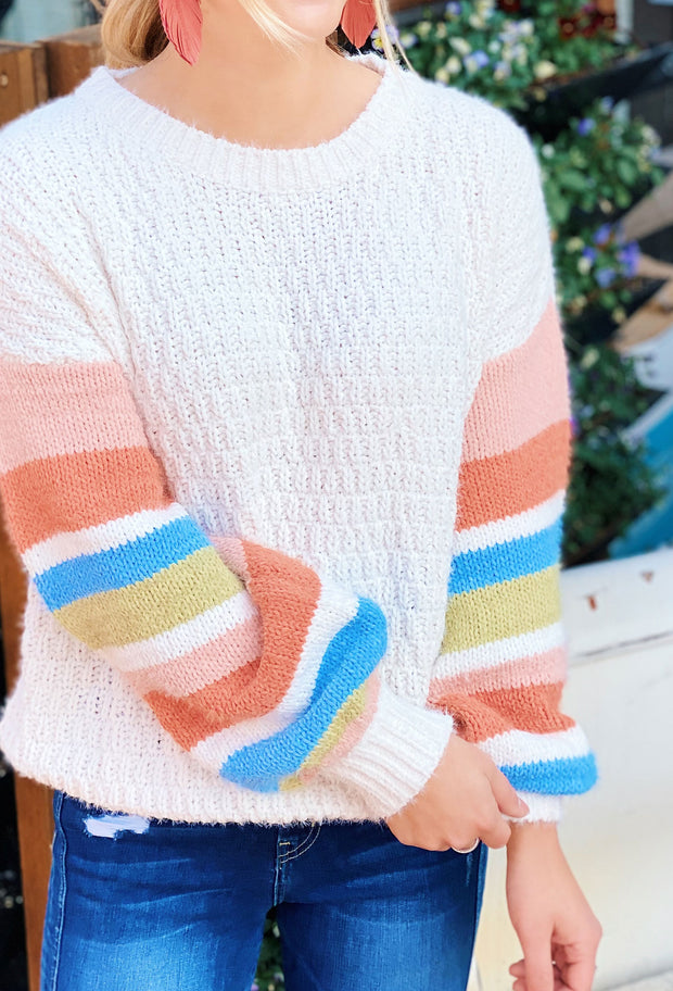 Kimber Contrasting Sleeve Sweater, cream chenille knit sweater with pastel chenille contrasting striped sleeves from Umgee