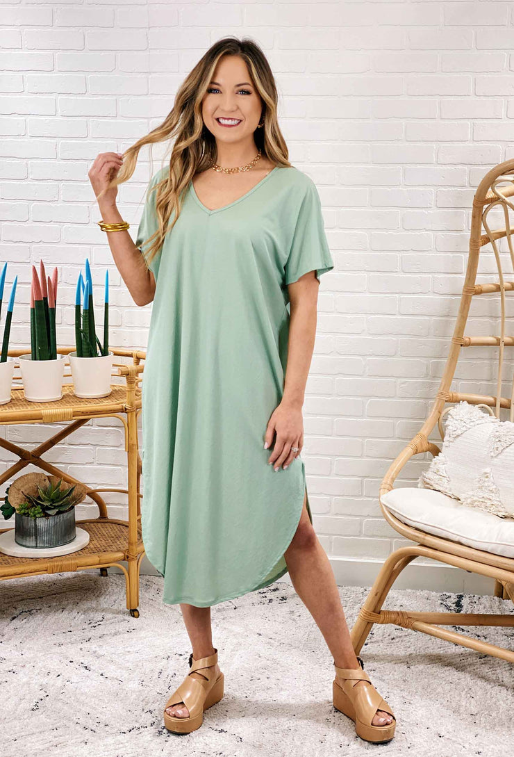 Universal T-Shirt Dress in Sage, mint green minidress with side slit