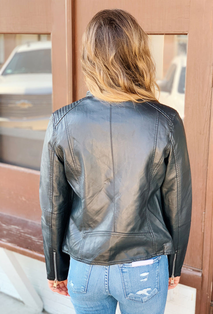 Vegan Leather Moto Jacket, black leather jacket with silver hardware