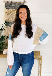 Waffle Knit Leopard Printed Sleeve Top, white thermal long sleeve top with blue and tan leopard panels on the sleeve