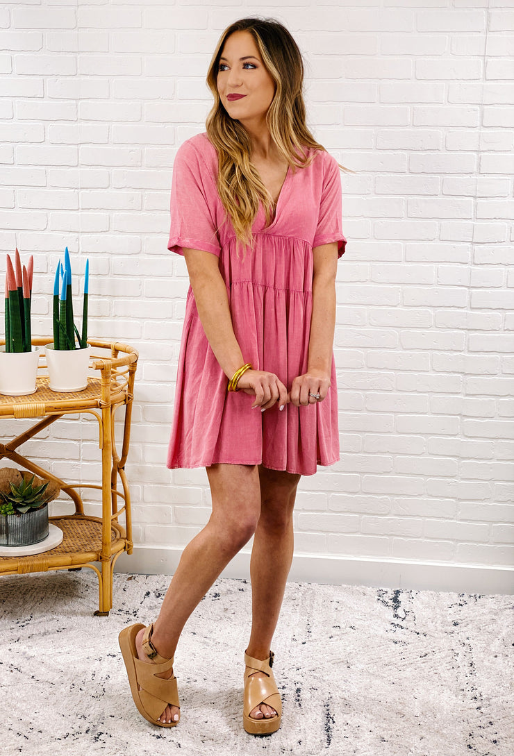Washed Rose Babydoll Dress, pink ruffle tiered washed out romper that lookalike a dress