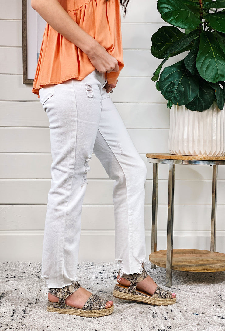 White Distressed Slouchy Fit Jeans, white distressed and frayed denim