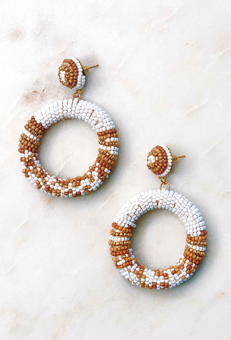White & Beige Beaded Earrings, white and tan hoop beaded earrings
