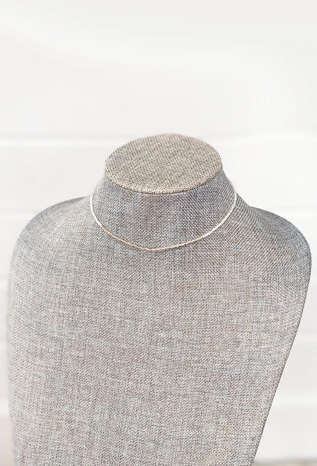 Chayce White and Silver Beaded Choker , dainty choker with small square white and silver beads