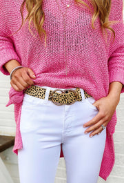 Josephine Belt in Cheetah, faux calf hair belt with two intertwining gold circles as the belt buckle