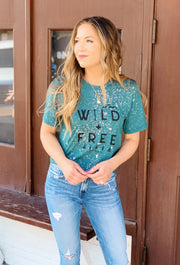 Wild & Free Bleached T-Shirt, green bleached t shirt with wild and free written in black on the front