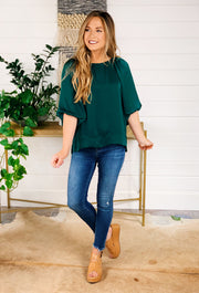 Willow Puff Sleeve Blouse in Forest Green, satin emerald green top with puff billowy short sleeves