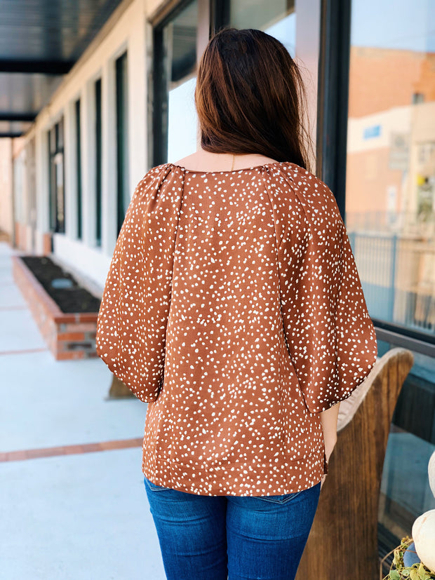 Willow Puff Sleeve Blouse in Mocha Spots, rust colored spotted silky blouse with 3/4 length puffed sleeves