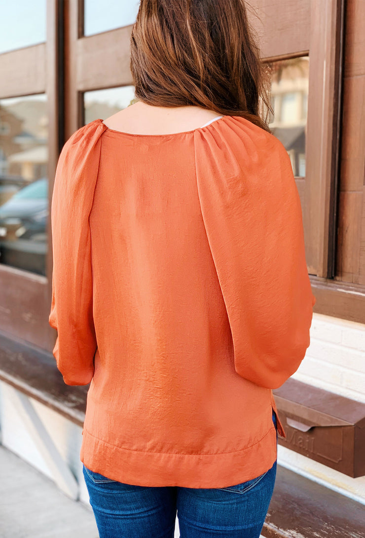Willow Puff Sleeve Blouse in Sunset, Orange red silky blouse with 3/4 length puffed sleeves
