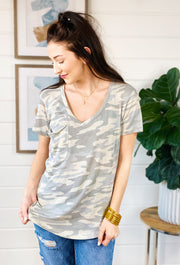 Z SUPPLY Camo Pocket Tee in Dusty Sage, light dusty green t shirt with slouchy pocket on the front