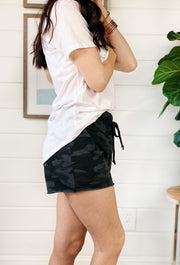 Z SUPPLY Camo Sporty Shorts in Dark Charcoal,black and gray sweat shorts with drawstring waist