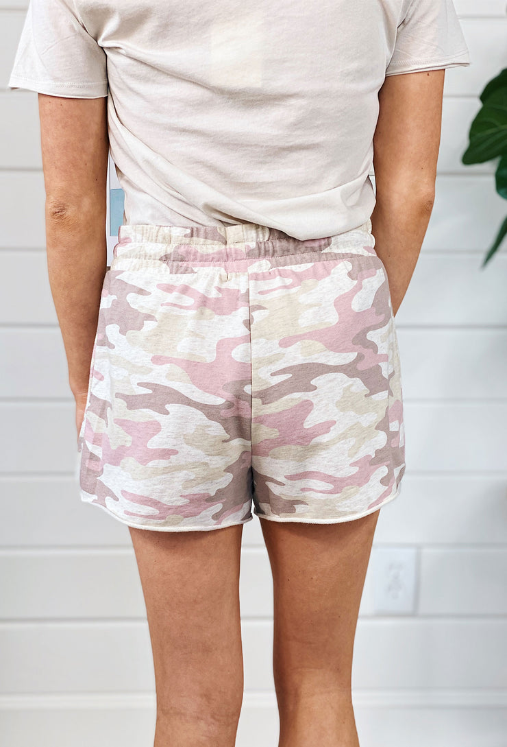 Z SUPPLY Camo Sporty Shorts in Mauve, pink and cream camo short sweatpants shorts with drawstring waist