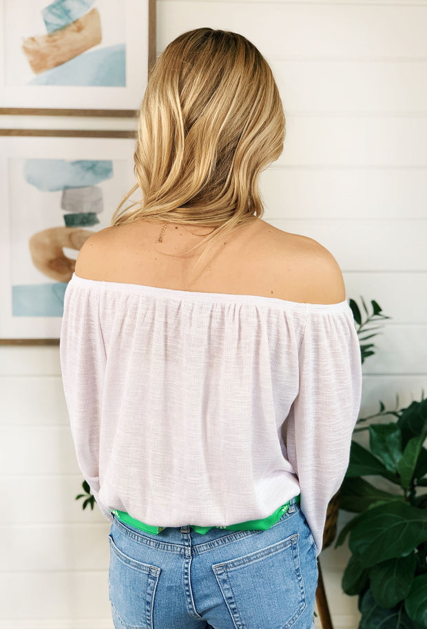 Z SUPPLY Liv Slub Off the Shoulder Top, white off the shoulder slub top
