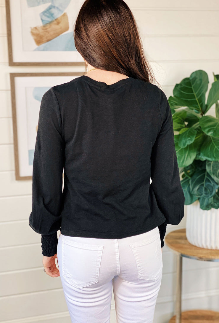Z SUPPLY Lyla Slub Long Sleeve Tee in Black, black cropped tee with smooched wrist detail