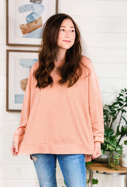 Z SUPPLY Modern Weekender in Soft Peach, soft peach sherbet pullover sweatshirt with side slit from z supply