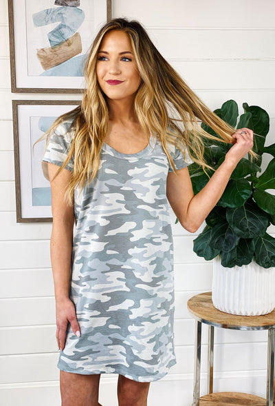 Z SUPPLY Payton Camo Tee Dress in Dusty Sage, light green camo t shirt dress