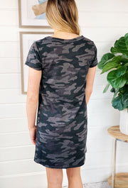 Z SUPPLY Payton Camo Tee Dress in Dark Charcoal, black and gray camo t shirt dress
