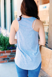 Z SUPPLY Pocket Racer Tank in Heather Gray, gray racer back tank top with a pocket