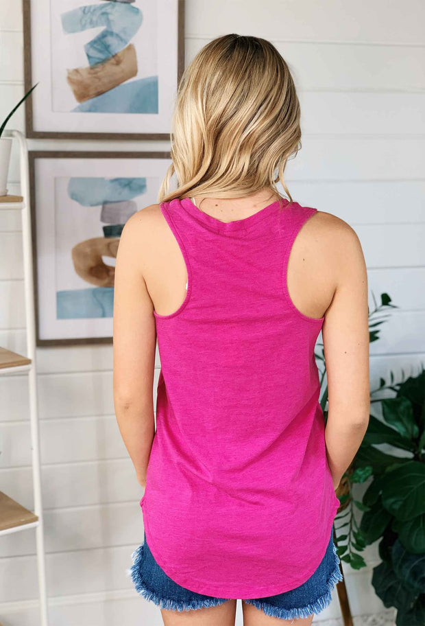 Z SUPPLY Pocket Racer Tank in Magenta, pink magenta tank with a slouchy front pocket