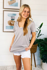 Z SUPPLY Pocket Tee in Drizzle Grey, taupe grey pocket t shirt