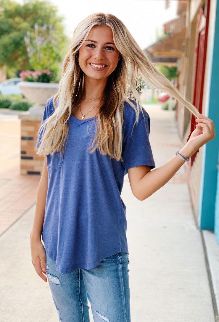 Z SUPPLY Pocket Tee in Vintage Blue, slouchy tee with front pocket in blue