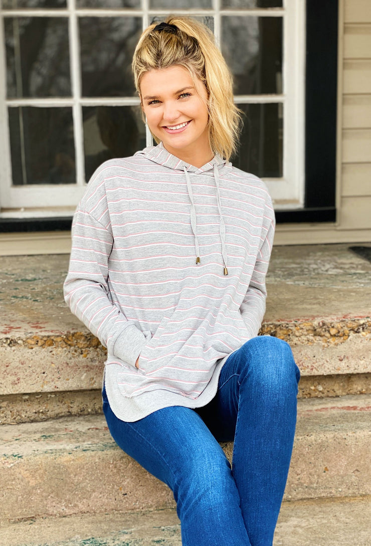 Z SUPPLY Sierra Gray Striped Dakota Pullover,  gray pullover hoodie with pink stripes