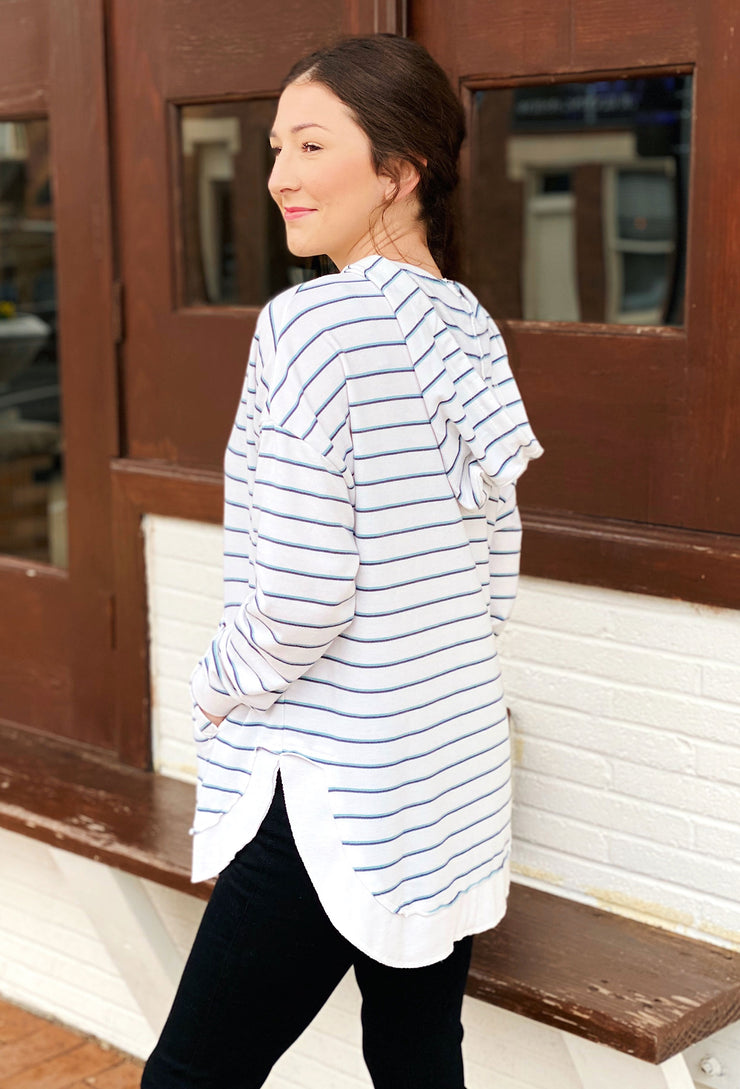 Z SUPPLY Sierra Blue Striped Dakota Pullover, white pullover hoodie with blue stripes