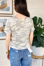 Z SUPPLY Skimmer Tee in Dusty Sage Camo, cropped t shirt with slouchy front pocket