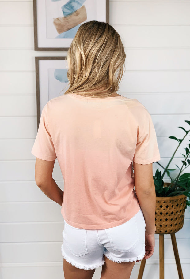 Z SUPPLY Sol Ombre Tee in Rose Pearl, coral ombre fade t shirt