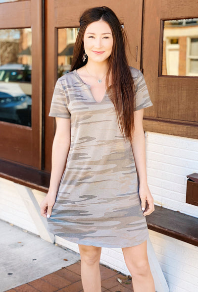 Z SUPPLY Camo Split Neck Dress in Light Camo Sage, short sleeve muted camo dress with a cut neckline