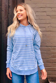 Z SUPPLY Striped Dakota Pullover Hoodie in Dusty Blue, light blue and white striped hoodie